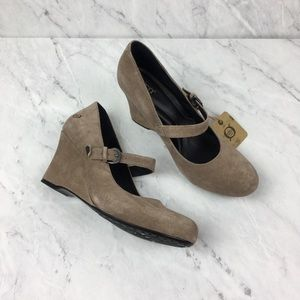 Born Camel Suede Mary Jane Wedges, NWT